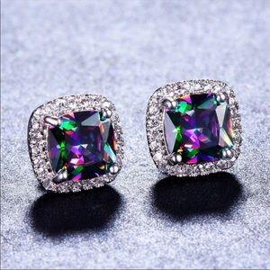 Mystic rainbow 🌈 Topaz princess cut stud earrings